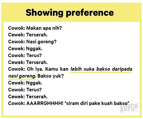 contoh showing preference